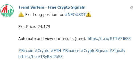 Example of a crypto signal on telegram (exit)